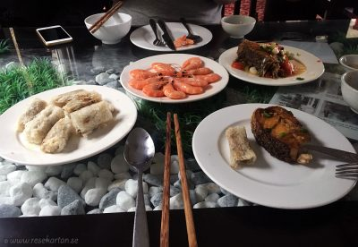 A typical lunch on a cruise ship in Halong Bay