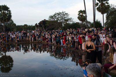 People at sunrise in Angkor Wat