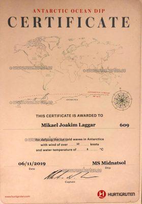 Antarctic Ocean Dip Certificate, Hurtigruten