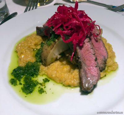 Flank steak corn puree potatoes and chimichurri, Hurtigruten