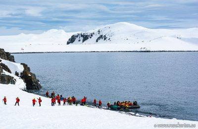 Our first landing in Antarctica, Half Moon Island