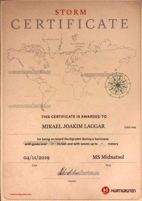 Storm Certificate, Hurtigruten