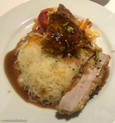 Teriyaki porkloin with egg noodles
